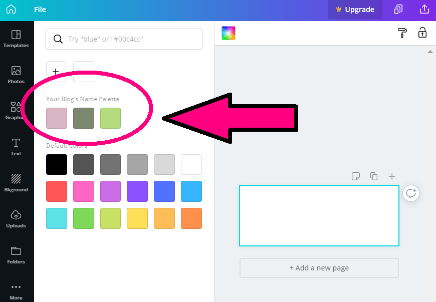 screenshot of a new design in canva.com with the new palette on the left of the screen canva color codes Hex color codes