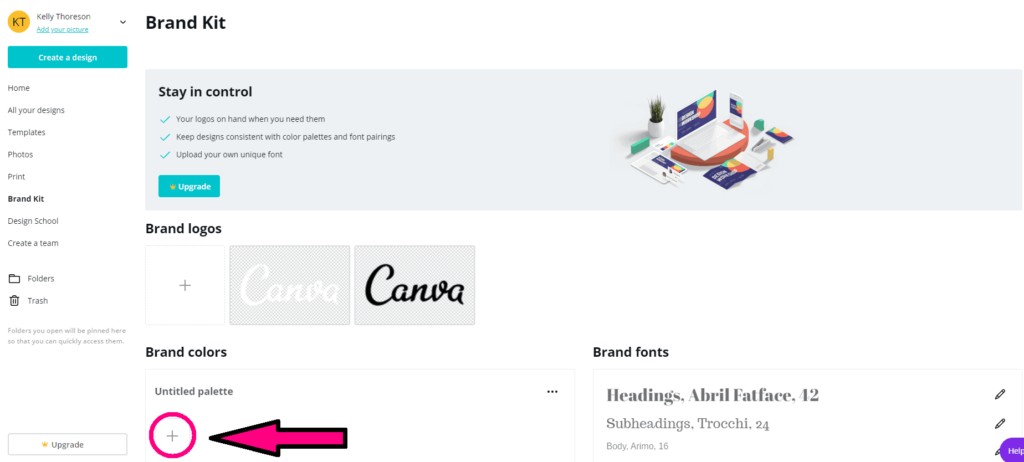 screen shot of canva.com brand kit page step 3 of canva color codes