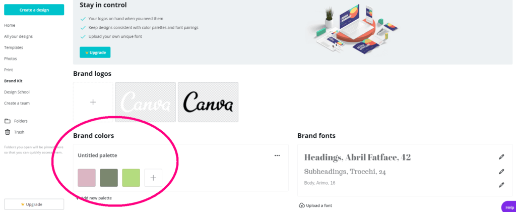 screen shot of canva.com brand kit page with three brand colors set up in it step 4.5 of canva color codes