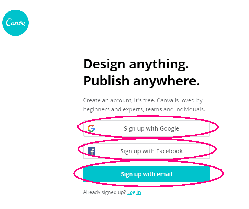 canva.com sign up page with the various sign up options circled sign up for Canva