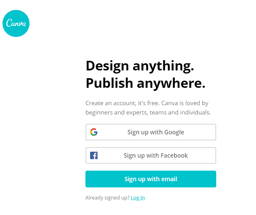 canva.com sign up page