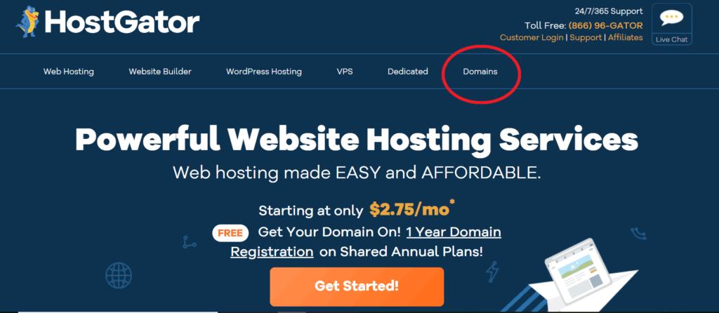 hostgator domain search screenshot step 2