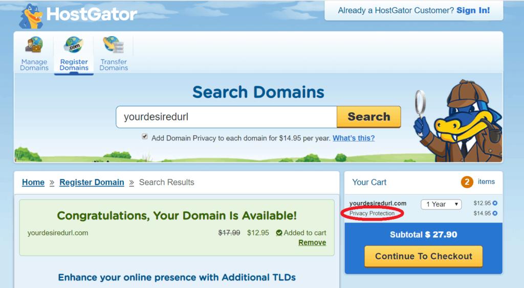 hostgator domain search screenshot step 7