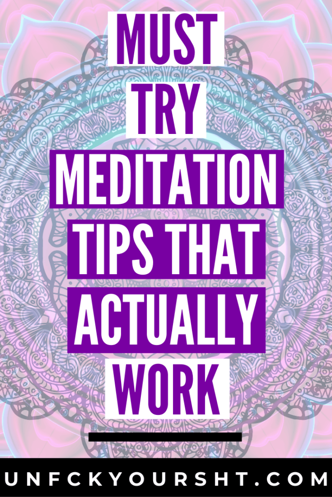 Text that reads I cant meditate must try mediation tips that actually work on mandala background in purple, white and black sign up for canva