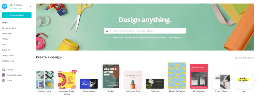Screen shot of Canva homepage