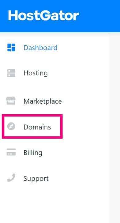 Nameservers for HostGator Screenshot of hostgators customer portal with a pink box around domains host gator tutorial