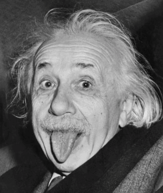 Albert Einstein With Crazy hair and tongue sticking out