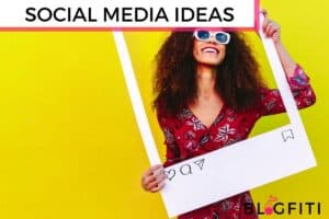 Social Media Post ideas featured image woman holding a giant picture frame around her smiling face with a bright yellow background