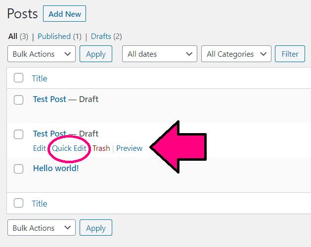 Understanding Your WordPress Dashboard All Posts Page Visual Breakdown Quick Edit