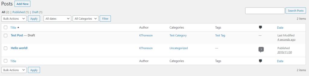 Understanding Your WordPress Dashboard Posts Page Screenshot