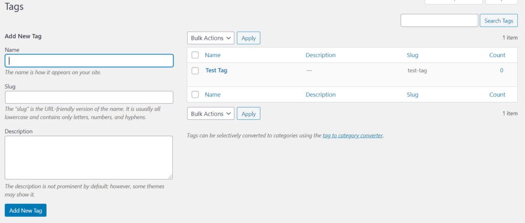 Understanding Your WordPress Dashboard Tags Page WordPress posts page