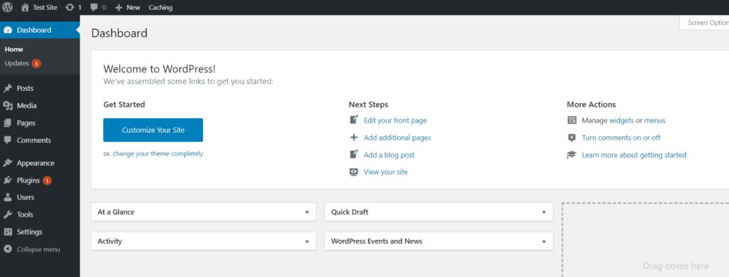 WordPress Dashboard Guide Dashboard Screenshot Whole