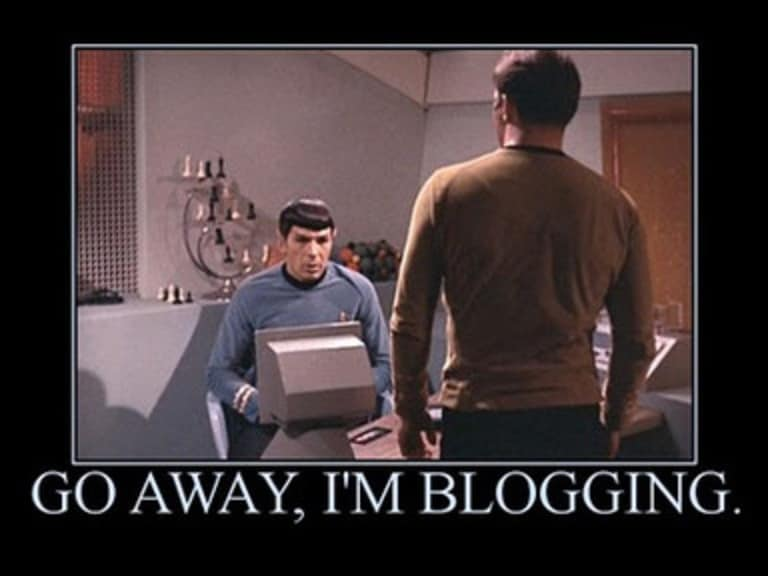 meme that says go away im blogging