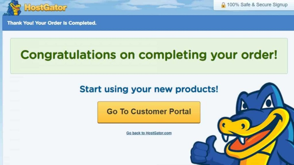 How to Register a Domain with HostGator Final Screen