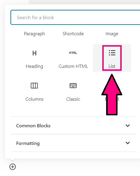 how to insert a list in wordpress