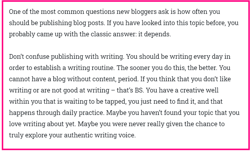 tips for your first blog post screenshot of block text condensed