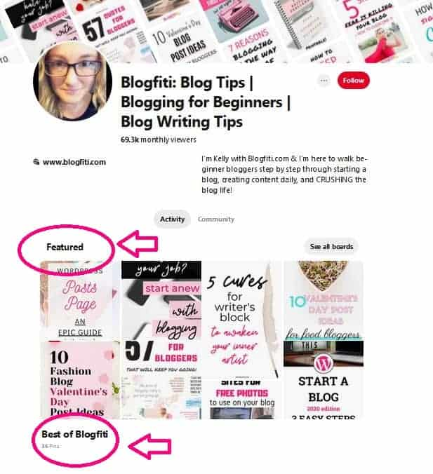 how to set featured boards on pinterest