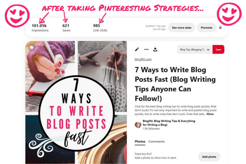 pinteresting strategies screenshot of success