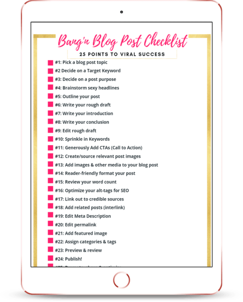tablet with blogfiti's blog post checklist on the screen cilck this image to download the free checklist