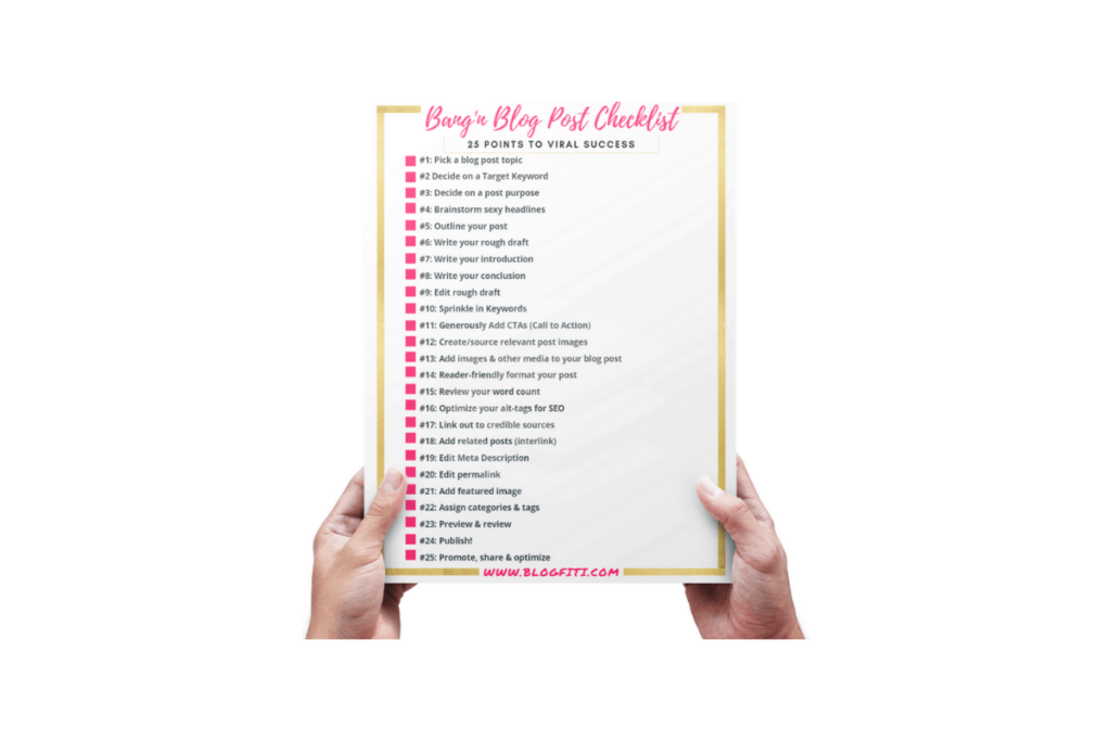 blog post checklist being held by hands