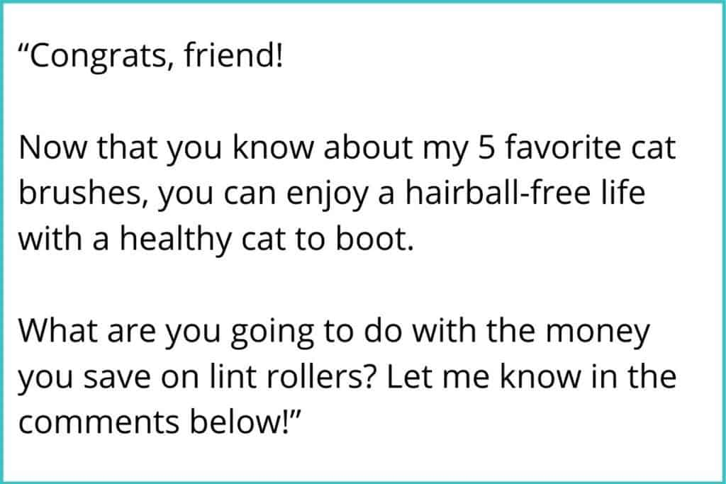 "Example blog post format congratulatory conclusion statement. It reads, ""congrats, friend! now that you know about my 5 favorite cat brushes, you can enjoy a hairball-free life with a healthy cat to boot. What are you going to do with all the money you save on lint rollers? Let me know in the comments below!"""