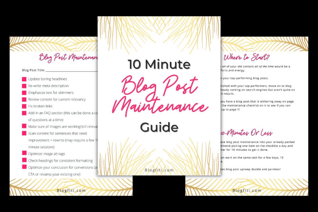 Minute Blog Post Maintenance Guide